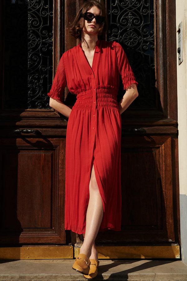 Deep V Button Down Maxi Beach Vacation Dress - Red