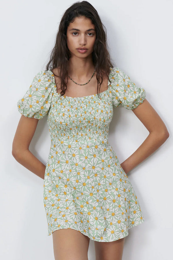 Ditsy Floral Puff Sleeve A-Line Summer Mini Dress - Green