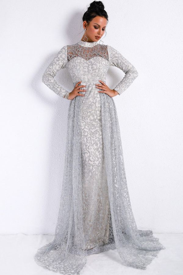 Ethereal Long Sleeve High Neck A-Line Sequin Maxi Evening Dress - Silver