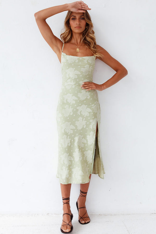 Floral Cowl Neck High Slit Slip Midi Dress - Sage Green
