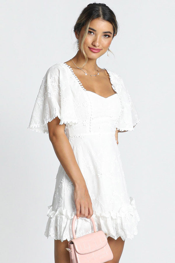 Floral Embroidered Dotted Ruffle Mini Little White Dress - White