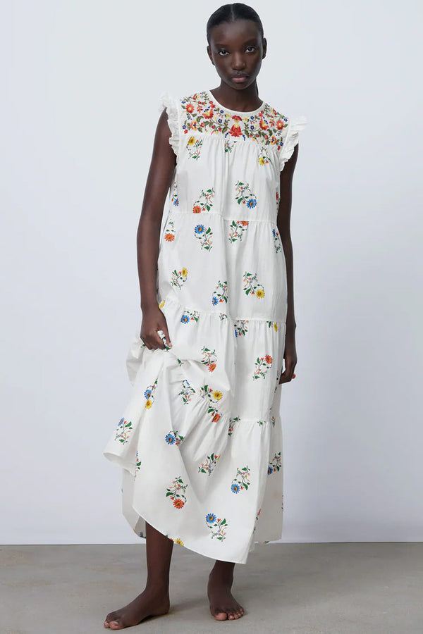 Floral Embroidered Ruffle Tiered Summer Midi Sundress - White