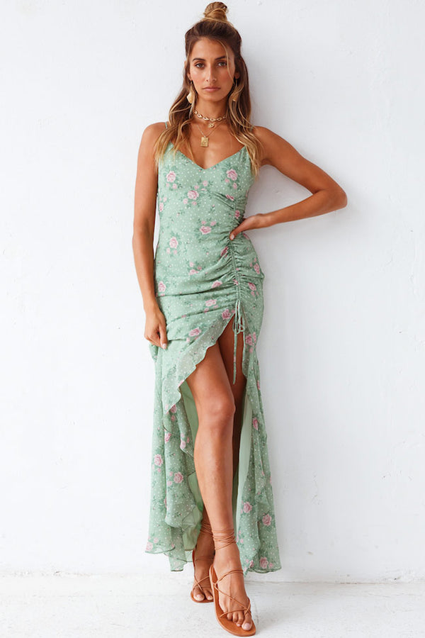 Floral Print Chiffon Ruched High Slit Slip Maxi Dress - Green