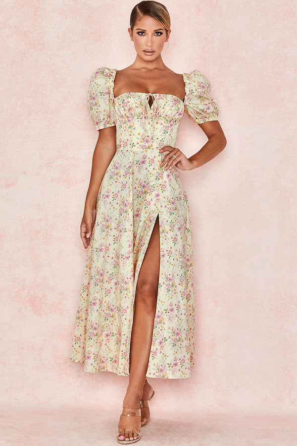 Floral Print Puff Sleeve Split Maxi Wedding Guest Dress - Apricot