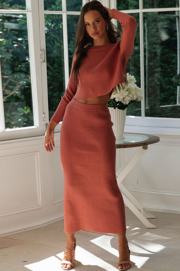 High Waist Rib Long Sleeve Winter Sweater Two Piece Dress - Red