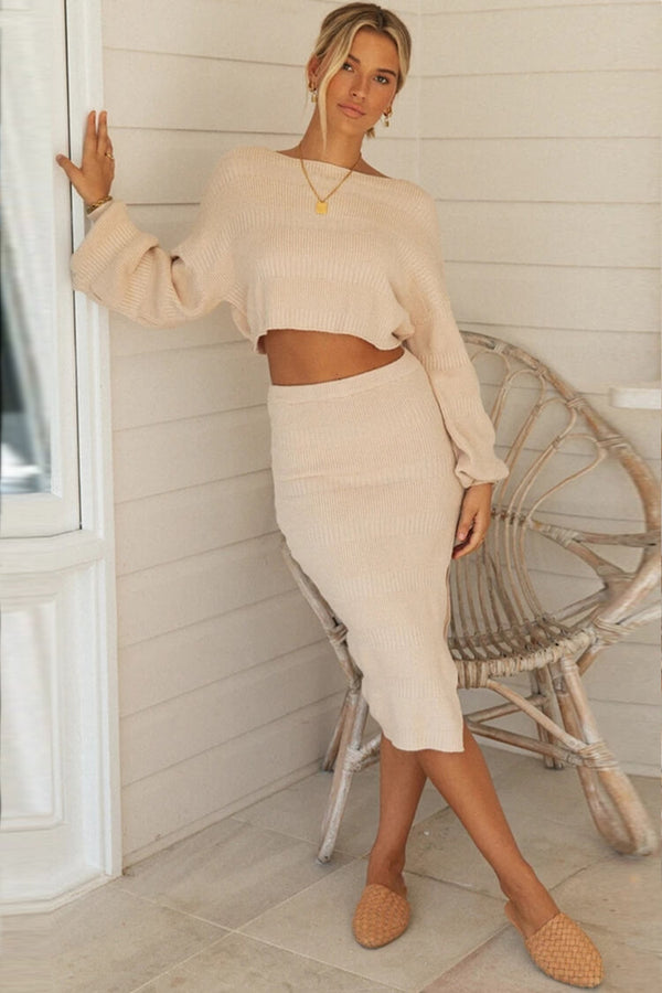 High Waist Slit Long Sleeve Cropped Sweater Two Piece Dress - Apricot