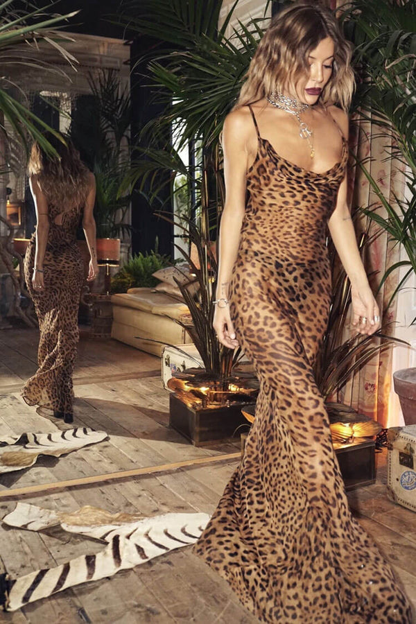 Leopard Spaghetti Strap Cowl Neck Chiffon Slip Maxi Dress - Coffee