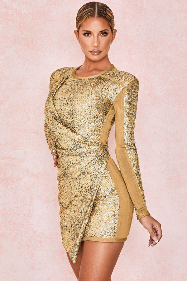 Long Sleeve Ruched Bodycon Sequin Mini Bandage Dress - Gold