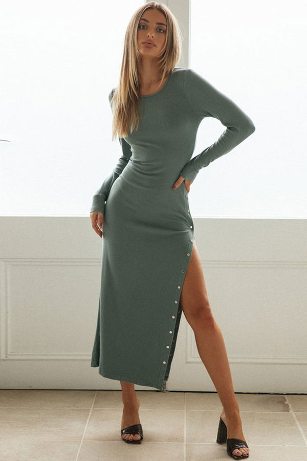 Long Sleeve Side Button Round Neck Ribbed Maxi Sweater Dress - Teal