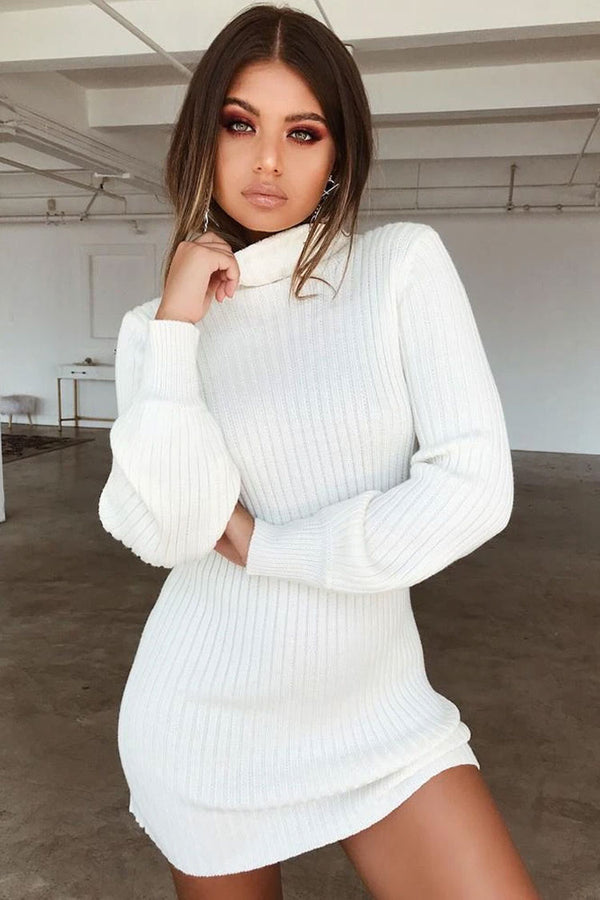 Long Sleeve Textured Turtleneck Winter Mini Sweater Dress - White