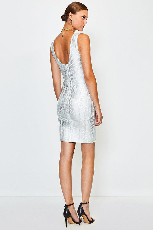 Metallic Deep V Sleeveless Bodycon Mini Bandage Dress - Silver