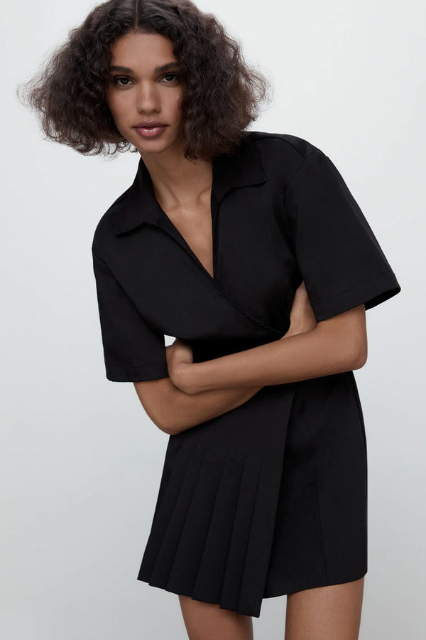 Pleated Trim Short Sleeve Collared A-Line Mini Dress - Black