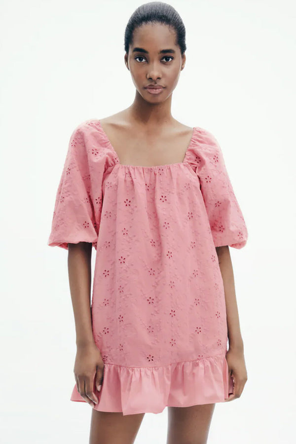 Puff Sleeve Broderie Anglaise Ruffle Mini Smock Dress - Pink