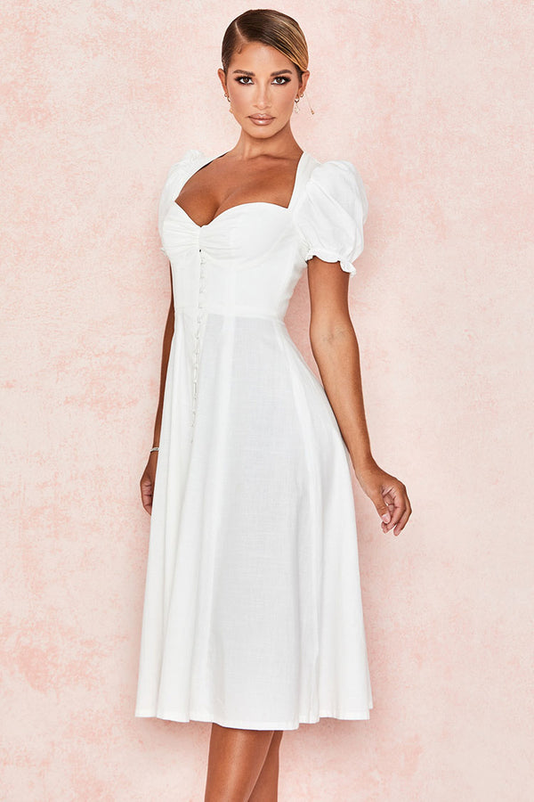 Puff Sleeve Button Down Bustier Summer Midi Sundress - White