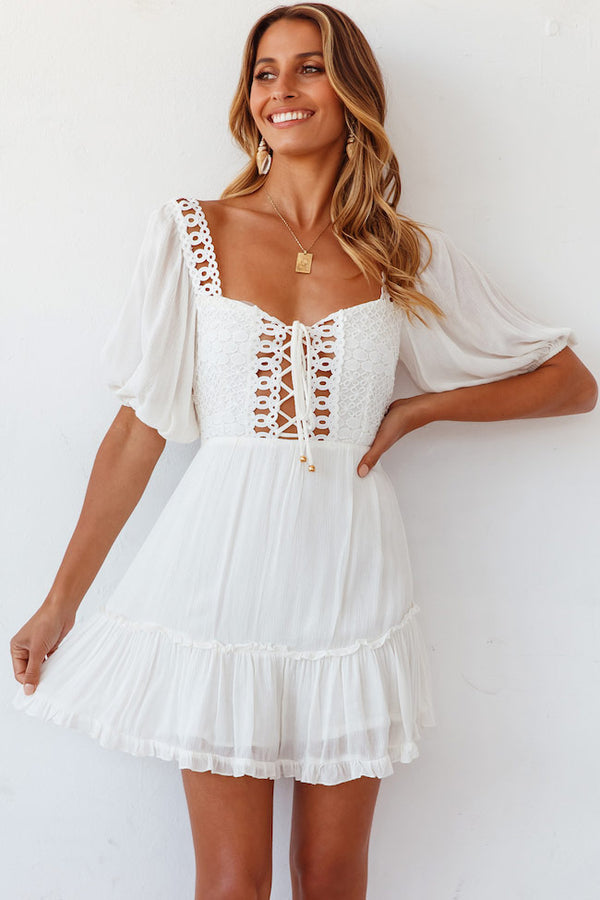 Puff Sleeve Crochet Lace Up Mini Little White Dress - White