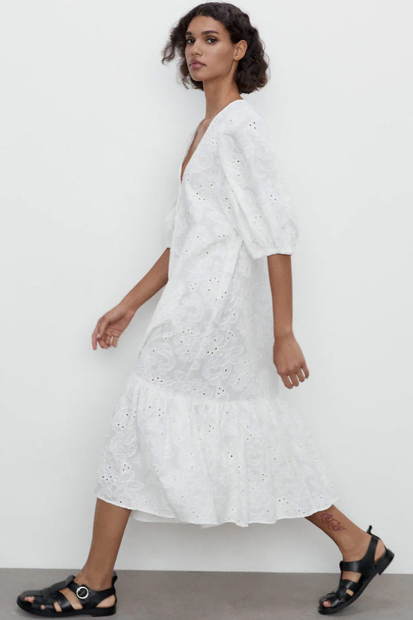 Puff Sleeve Deep V Broderie Anglaise Midi Dress - White