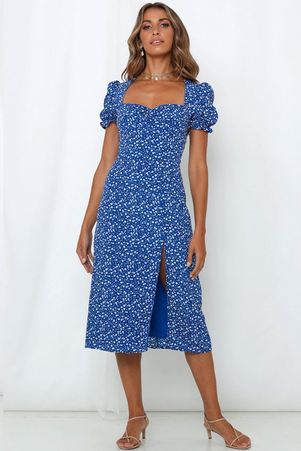 Puff Sleeve Ditsy Floral Split Midi Garden Party Dress - Blue