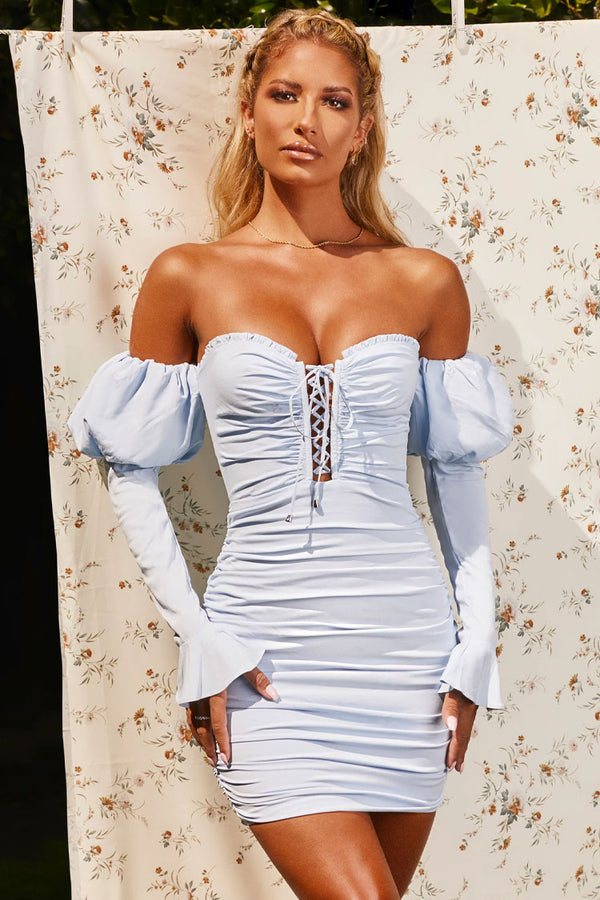 Puff Sleeve Lace Up Off Shoulder Ruched Bodycon Mini Dress - Light Blue