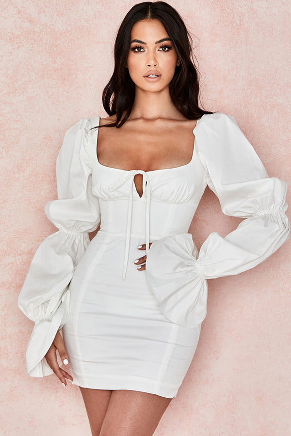 Puff Sleeve Tie Front Cut Out Mini Cocktail Party Dress - White