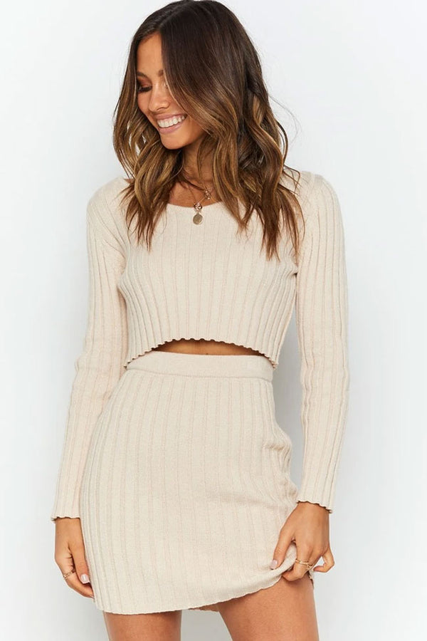 Ribbed Long Sleeve Winter Sweater Mini Two Piece Dress - Apricot