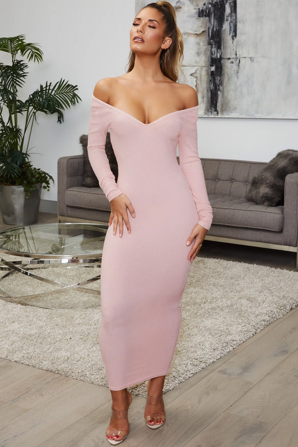 Ribbed V Neck Long Sleeve Bodycon Maxi Sweater Dress - Pink