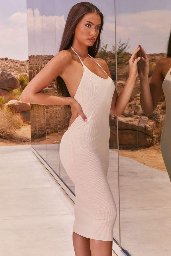 Sexy Ribbed Halter Bodycon Midi Sweater Dress - Beige