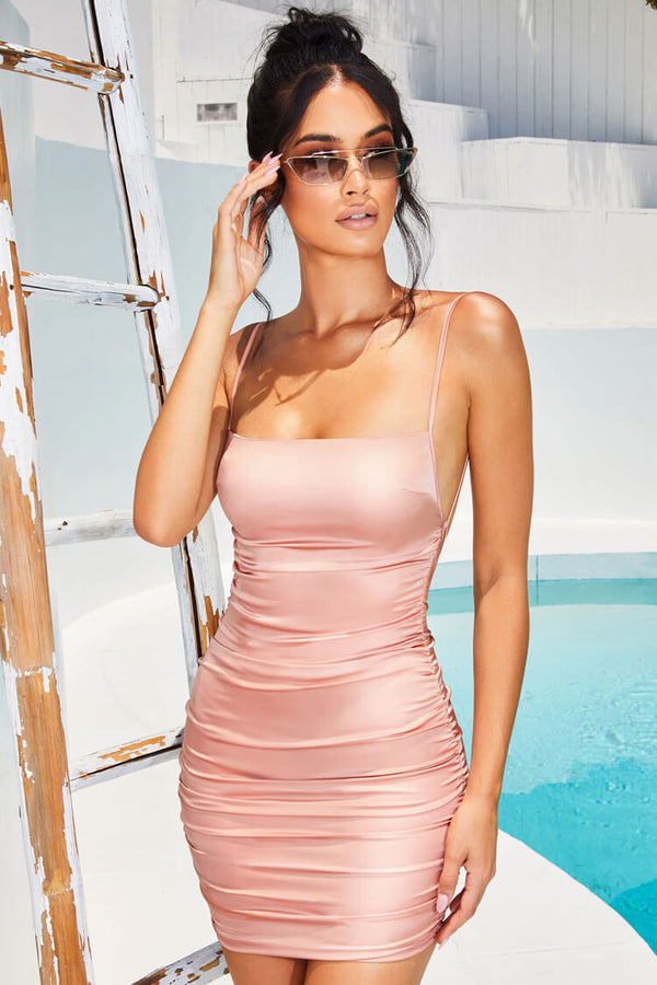 Sexy Ruched Bodycon Backless Satin Slip Mini Dress - Light Pink