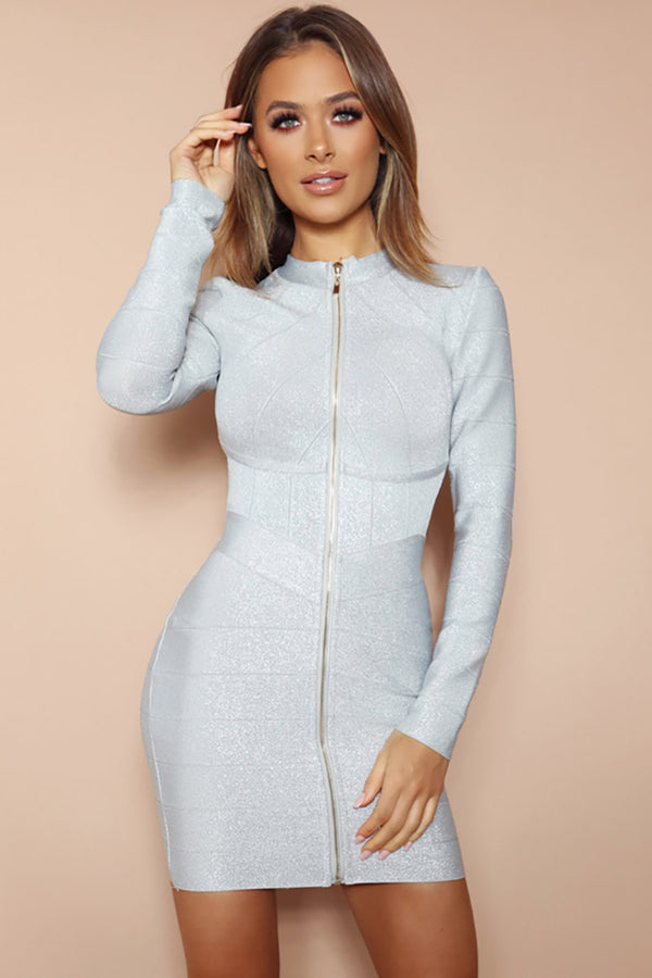Shimmering Long Sleeve High Neck Zip Front Bandage Mini Dress - Silver