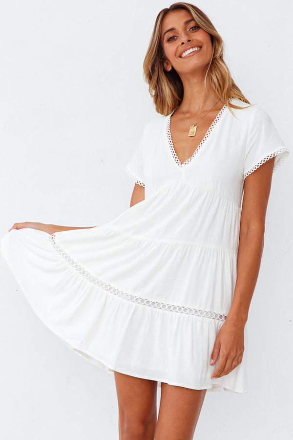 Short Sleeve Scalloped V Neck Summer Mini Dress - White
