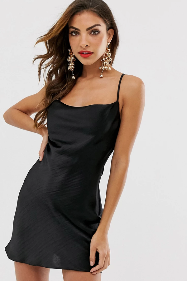 Silky Cowl Neck Cross Back Satin Slip Mini Dress - Black