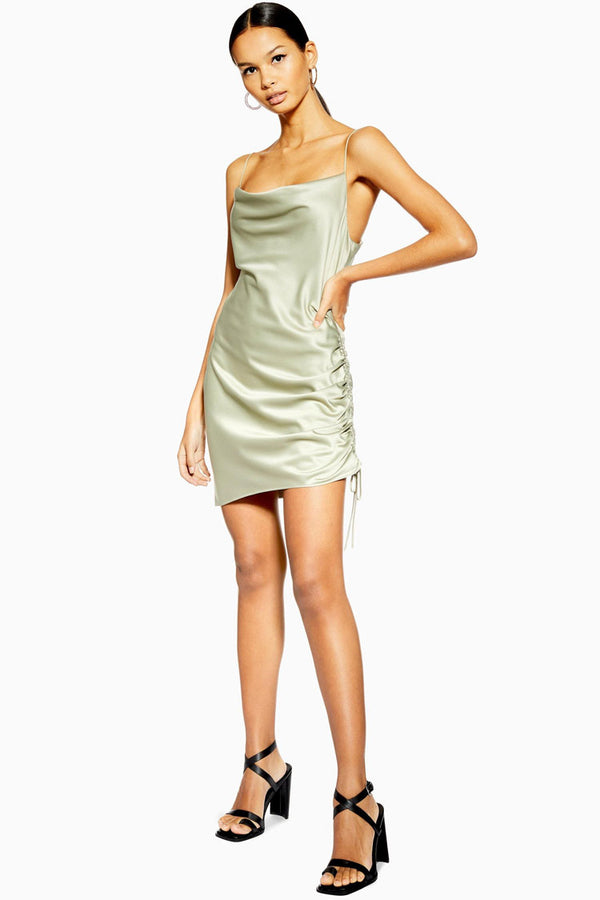 Silky Cowl Neck Tie Side Ruched Satin Slip Mini Dress - Sage Green