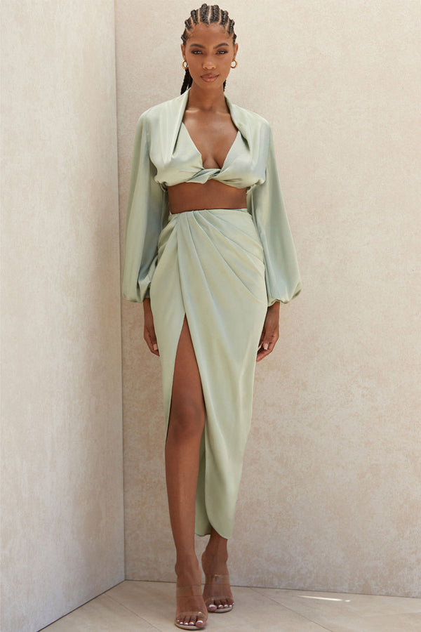Silky High Low Slit Draped Satin Two Piece Dress - Sage Green