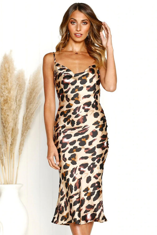 Silky Leopard Print Cowl Neck Satin Slip Midi Dress - Coffee