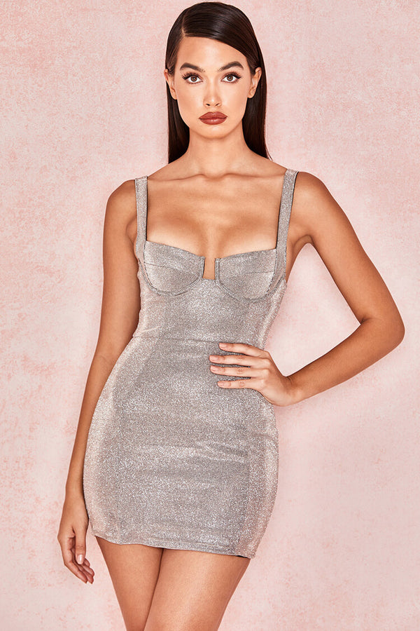 Sparkly Bustier Sleeveless Knit Bodycon Mini Dress - Silver
