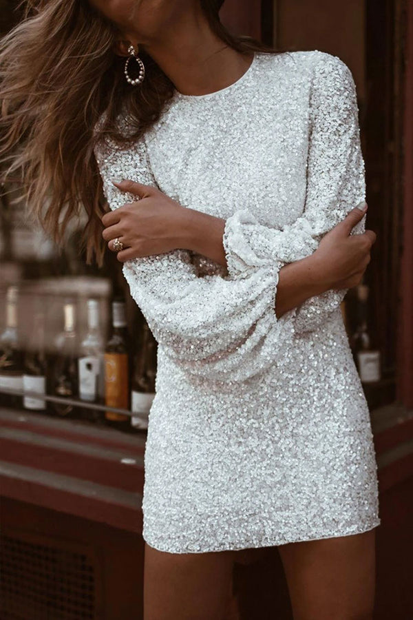 Sparkly Long Sleeve Round Neck Sequin Mini Dress - White