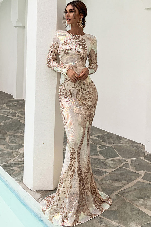 Sparkly Sequin Long Sleeve Backless Mermaid Maxi Evening Dress - Gold