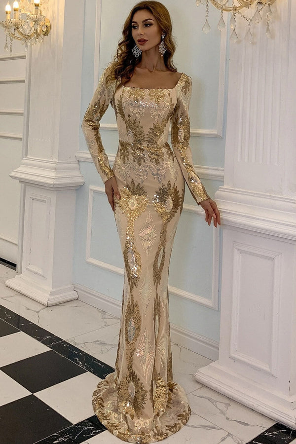 Sparkly Sequin Long Sleeve Square Neck Mermaid Maxi Evening Dress - Gold