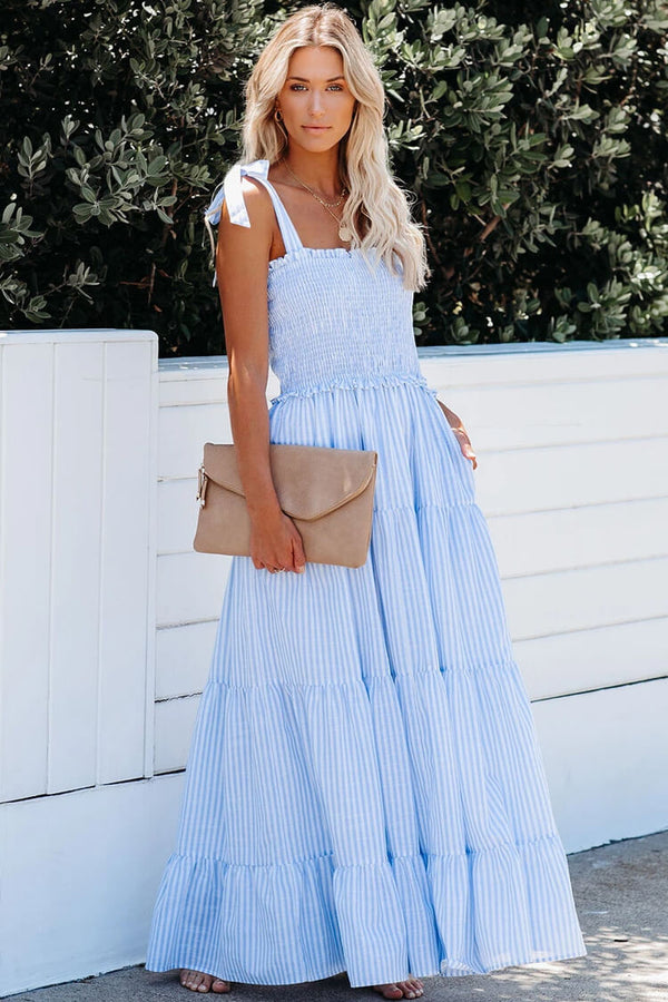 Striped Tie Strap Smocked Sleeveless Maxi Beach Vacation Dress - Light Blue