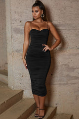 Sweetheart Neck Ruched Midi Cocktail Party Dress - Black