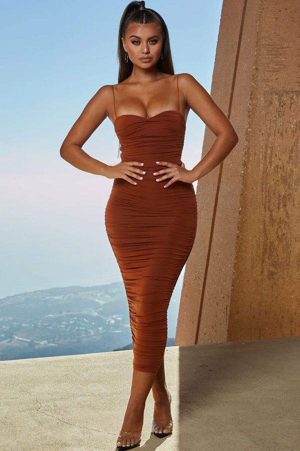Sweetheart Neck Ruched Midi Cocktail Party Dress - Rust