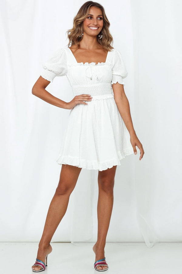 Swiss Dot Ruffle Puff Sleeve Mini Summer Dress - White