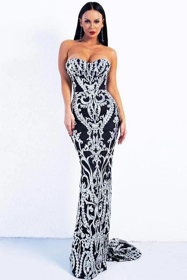 Vintage Sequin Strapless Corset Mermaid Maxi Evening Dress - Silver