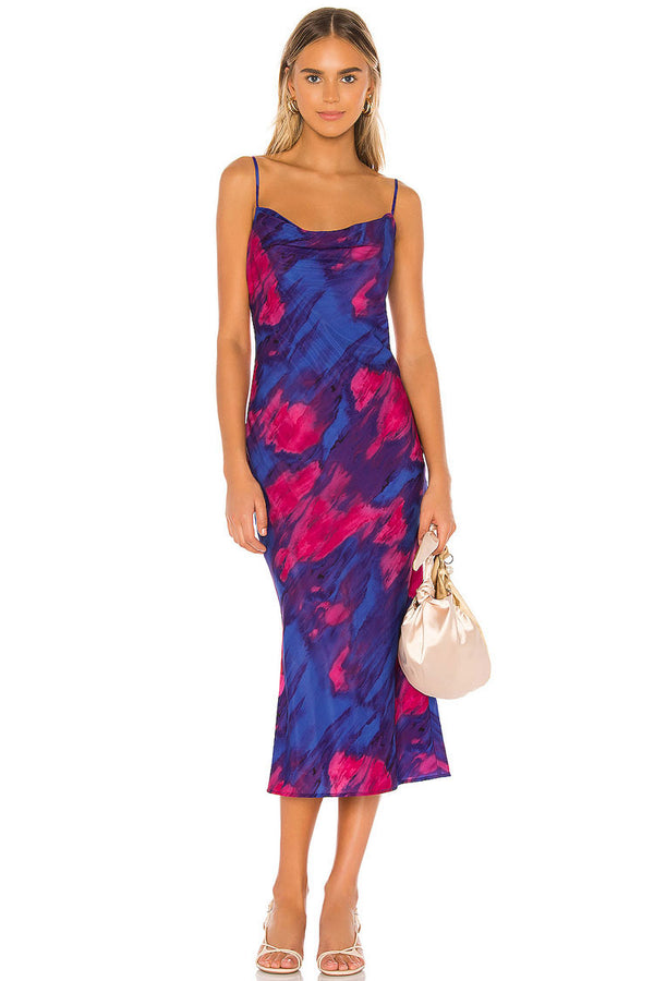 Vintage Tie Dye Spaghetti Strap Cowl Neck Slip Midi Dress - Multicolor