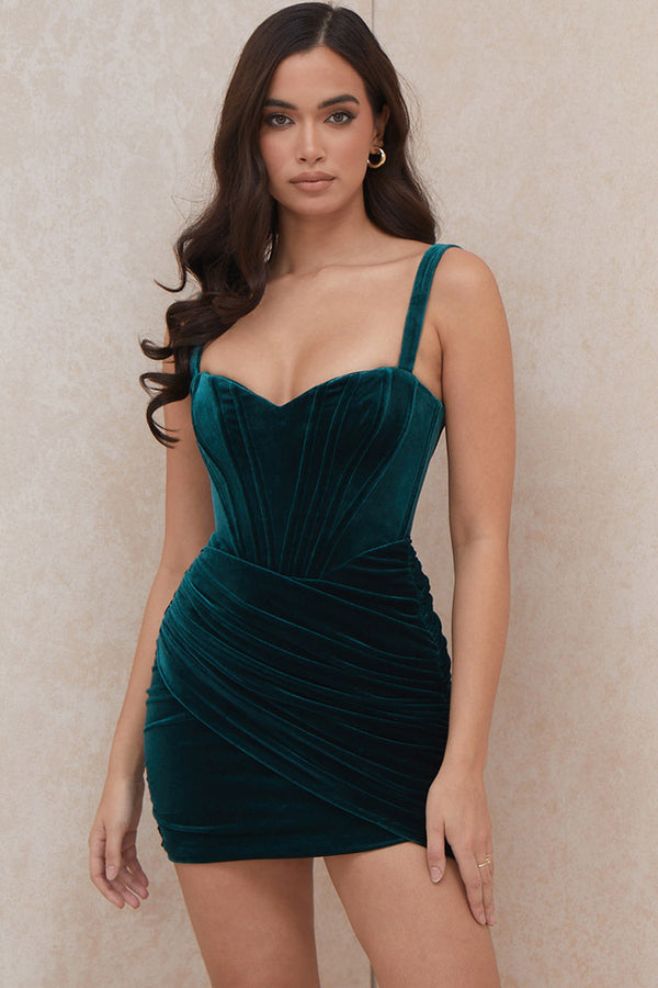 Vintage Velvet Ruched Bodycon Mini Corset Dress - Emerald Green