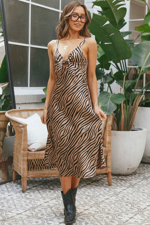 Vintage Zebra Print Bow Tie Satin Slip Midi Dress - Coffee