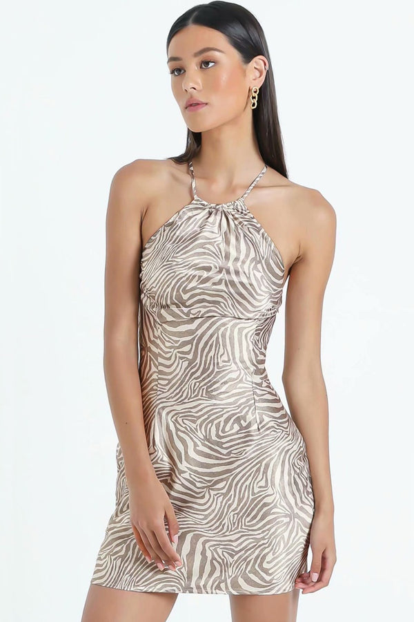 Zebra Print Halter Neck Chiffon Mini Dress - Coffee