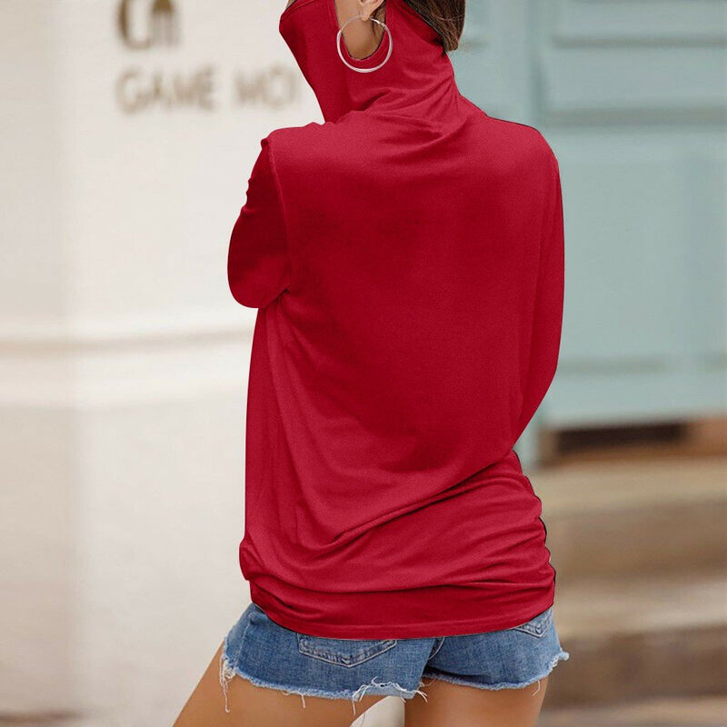 Casual Loose Turtleneck Long Sleeve Solid