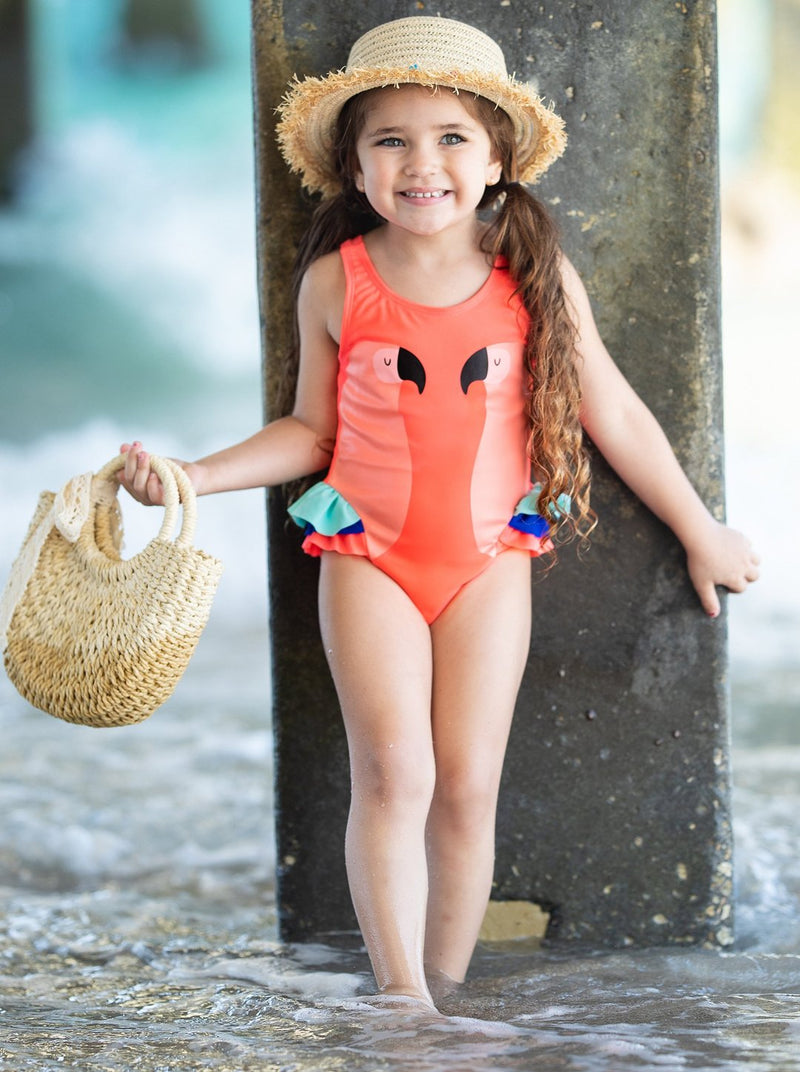 Girls Swan Lake One Piece Swimsuit(2 Color)