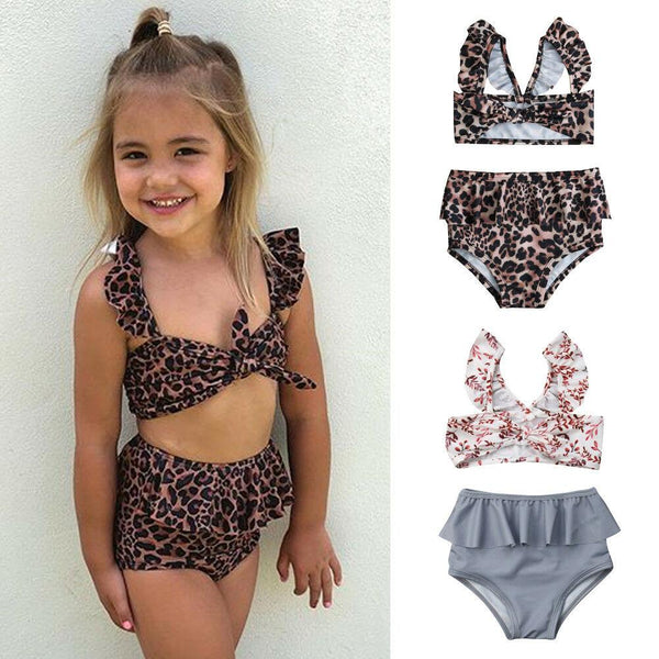 Leopard/Floral Girl Swimsuit
