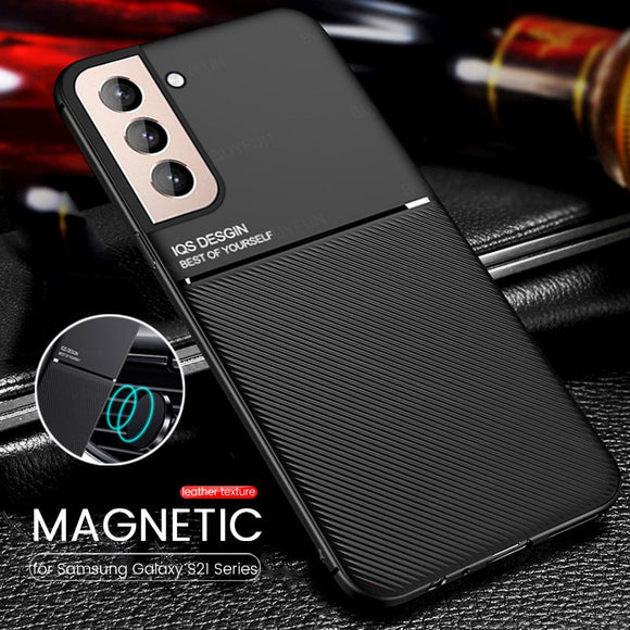 Car Magnetic Holder Leather Texture IQS Desing Case for Samsung Galaxy S21 Series